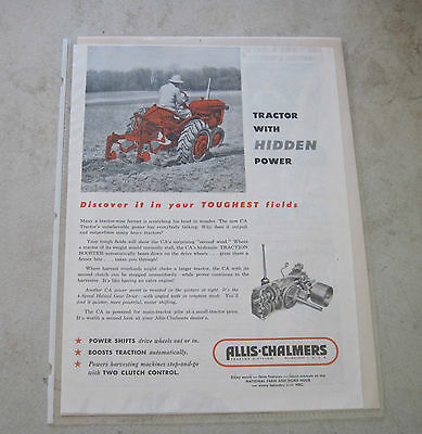 "1953 Allis-Chalmers Milwaukee Model ""CA"" Tractor ad"