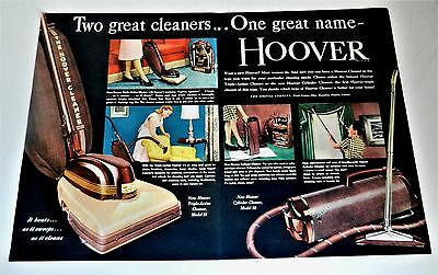 """Original 1947 """"hoover Vacuum Cleaner"""" Canton, Ohio/large Two Page Art Print Ad"""