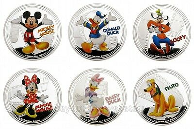 6pcs Mickey Mouse & His Friends Cartoon Anime Silver Plated Round Souvenir Token