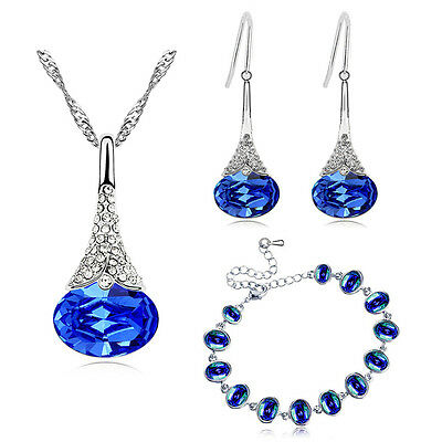 Royal Blue Bridal Jewellery Set Drop Earrings Bracelet Necklace Pendant S924
