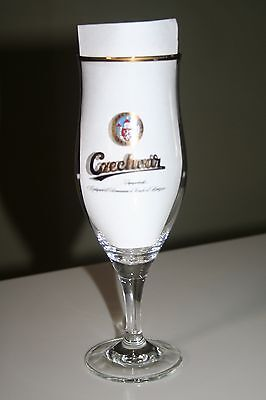 Czechvar Lager .4 Liter Stemmed Pilsner Glass Gold Rim Beer Glass VGC