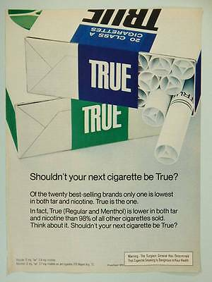 1972 True Cigarettes - Vintage Magazine Ad Page - Smoking - Tobacco Advertising