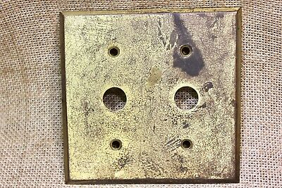 double Switch Plate with single holes for toggle solid brass vintage tarnished