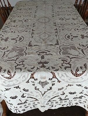 "Beautiful Vintage MADEIRA Embroidery Linen Tablecloth Elaborate 99""×67"" (#45)"