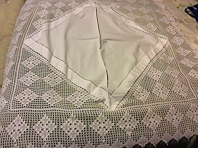 """VINTAGE Quality WHITE COTTON / LINEN/With Crochet TABLECLOTH 36"""" SQUARE"""