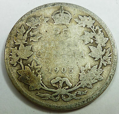 1905 Canada / Canadian 25 Cents Silver Quarter AG About Good Condition