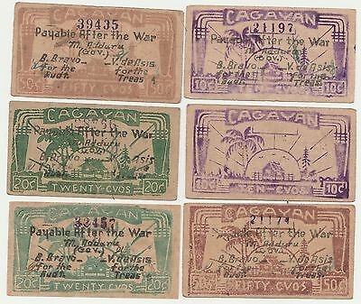 Huge Lot Of 29 Of WWII Philippines Emergency Script Pesos & Centavos Currency