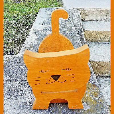 Hand Crafted Wooden Cat Rack. Use:Kindling~Magazines~Newspaper~Country Decor-GUC
