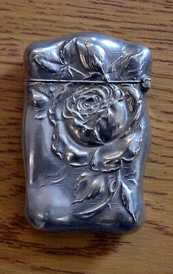 21.7g Antique Art Nouveau STERLING SILVER Hinged Match Safe Large Repousse Roses