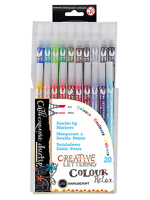 Pack 20 Manuscript Callicreative Duo Tip Coloured Italic Twin End Pens MM7003