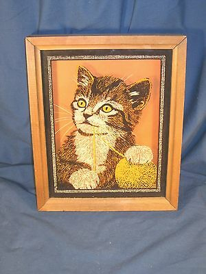 Adorable Vintage Tabby Kitten / Cat Back Painted Orange Background Picture
