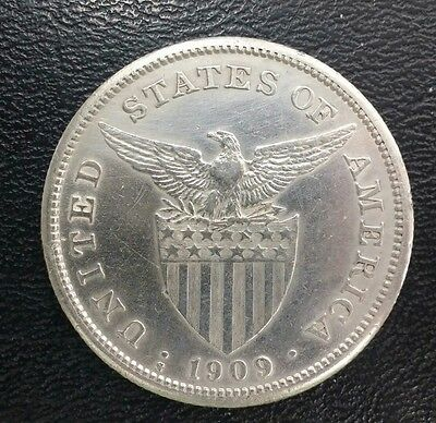 1909-S Philippines Peso NICE AU COIN!!