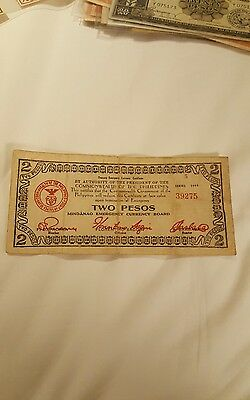 1944 Philippines guerilla currency, 2 pesos, circulated Mindanao series 5