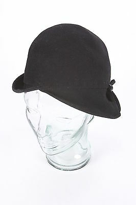 1920s Cloche Vintage Black Wool Womens Hat With Feather-Holder Button