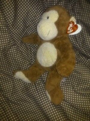 """Ty DANGLES 2002 BABY SAFE TyLux 10"""" MONKEY Pluffies Brown Plush Washable FREE SH"""