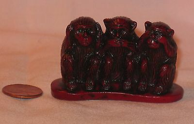 See, Hear And Speak No Evil Monkey, Mahogany Color Resin Figure