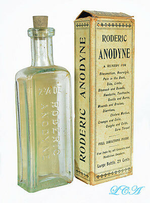 Antique OPIUM ALCOHOL mixture bottle RODERIC ANODYNE emb & lab in ORIG. box !