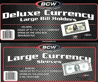 300 Semi Rigid Large Dollar Bill Currency Holders Deluxe Plus 300 Sleeves