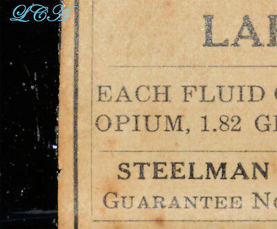 Antique OPIUM ALCOHOL mix bottle LABEN'S ESSENCE emb & labeled STEELMAN ARCHER