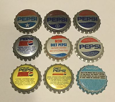 9 Pepsi plastic lined soda bottle caps 9 different unused