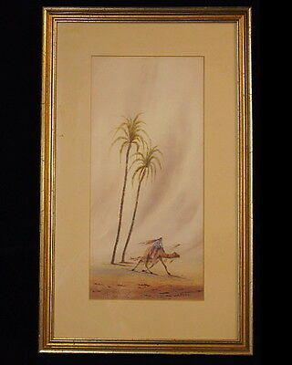 Signed Art Deco Egyptian Moroccan Desert Camel Palm Trees Watercolor Painting