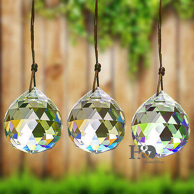 1 pc K9 Clear Crystal Feng Shui Lamp Ball Prism Rainbow Sun Catcher Wedding 50MM