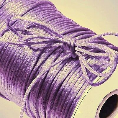 50 Yards LILAC Nylon 2mm Satin Cord RatTail  Kumihimo Braiding 150 ft ~ Lavender