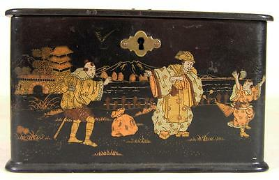 Antique Asian Lacquered Box With Orential Scenes On All Sides Wonderful Sm Size