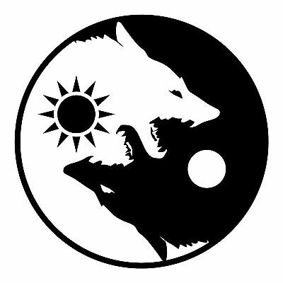 YIN YANG WOLVES FLAG BANNER POSTER 4' X 4' wolf