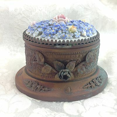 Von Schierholz Germany Porcelain Blue Flowers Rose Inkwell Box Vintage