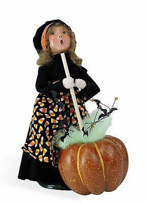 Byers Choice Halloween Witch GIRL Pumpkin Cauldron '16 Open House Excl Signed JB