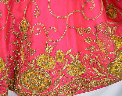Vintage India LEHENGA SKIRT Heavily Beaded & Embroidered Belly Dance Pink Gold