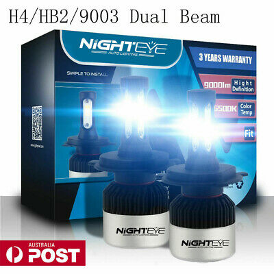 Nighteye H4 HB2 9003 LED Headlight Kit Light Bulb High/LOW 72W 9000LM/Set White