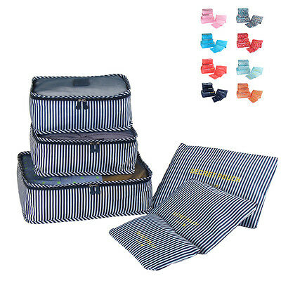 ER 6Pcs Waterproof Travel Storage Bag Clothes Packing Luggage Organizer Pouch