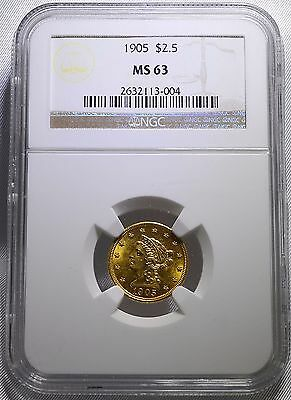 1905 NGC MS63 $2.50 Gold Liberty Head Quarter Eagle, Philadelphia Mint Gold Coin