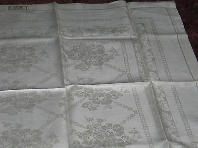 Exquisite Antique Linen Damask Tablecloth~UNUSED ORIGINAL LABEL~Drawn Thread
