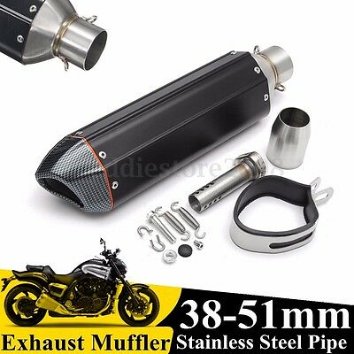 Black Carbon Fiber Motorcycle Exhaust Muffler Pipe w/ Scooter 38-51mm Universal
