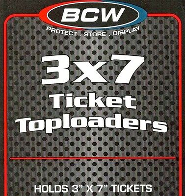 250 Clear 3X7  Topload Holders Ticket or Currency BCW 3 X 7 Ticket Toploaders