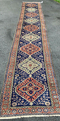 "Antique  Beautiful Hand Made Oushak Turkish long Runner Rug 2'7""x12'7"""