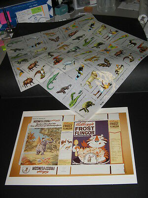 Sugar Frosted Flakes 1973 cereal box,Letraset safari rubons proof sheets