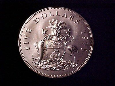 Bahamas $5 Dollars Huge Sterling Silver Coin 1973 Gem Bu Matte Finish 1.25 Ozs