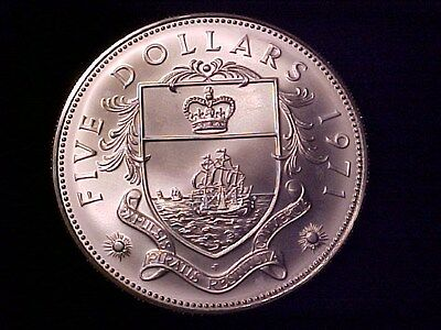 Bahamas $5 Dollars Huge Sterling Silver Coin 1971 Gem Bu Matte Finish 1.25 Ozs