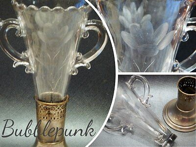 """Vintage Antique Etched Floral Glass 7 1/2"""" 2pc Vase w/Silverplate Footed Base"""