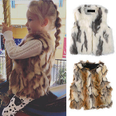 Baby Toddler Girls Warm Winter Fur Bow Vest Kid's Fashion Outerwear Clothes 1-5Y