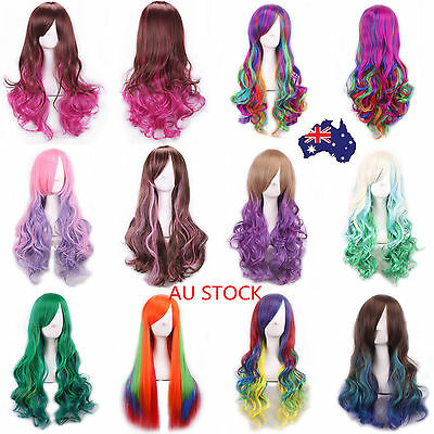 AU Women 70cm Wavy Long Curly Wigs Colorful Cospaly Hair Custume Party Full Wig