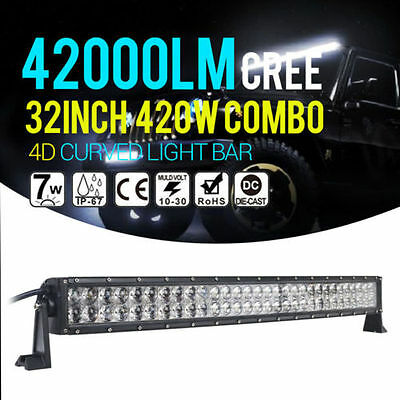"420W 34INCH 32"" CREE 4D LED Light Bar Spot Flood Combo Car Curved Offroad SUV"