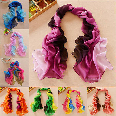 New Fashion Girl's Women's Long Soft Wrap Ladies Shawl Silk Chiffon Scarf 048