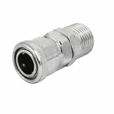 1/2-inch Dia Male Thread Quick Fitting Pneumatic Connector Coupler Silver Tone