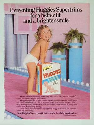 1986 Huggies Diapers Vintage Magazine Ad Page Cute Baby Michelle Diaper Modeling