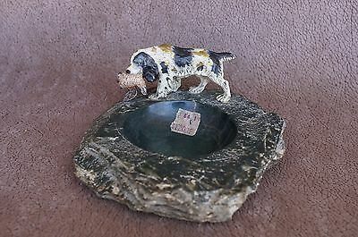 VTG Painted Bronze ENGLISH SPRINGER SPANIEL Dog Trinket Tray Coin Dish Metal